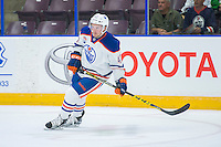 PENTICTON, CANADA - SEPTEMBER 16: Joey Benik #47 of Edmonton Oilers skates against the Vancouver Canucks on September 16, 2016 at the South Okanagan Event Centre in Penticton, British Columbia, Canada.  (Photo by Marissa Baecker/Shoot the Breeze)  *** Local Caption *** Joey Benik;