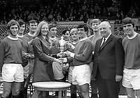 Empire Gold Medallist, Mary Peters, presents Linfield FC with the Ulster Cup, the first trophy to be competed for each season. 1970/1971 season. 26th September 1970. 197009260333<br />