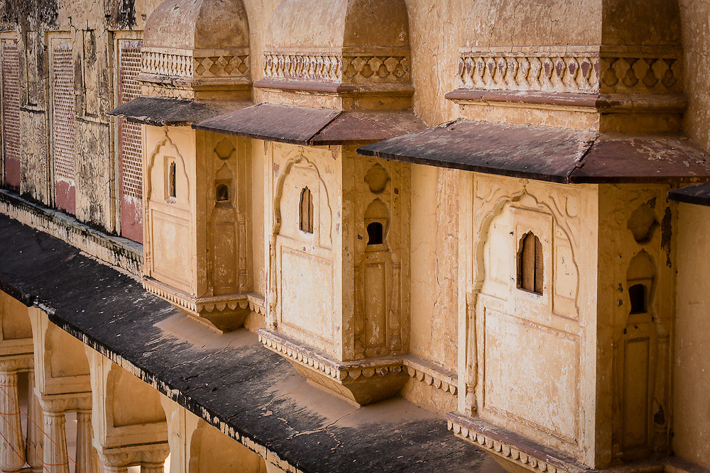 A detail of three balconies of the Amber Palace, near Jaipur