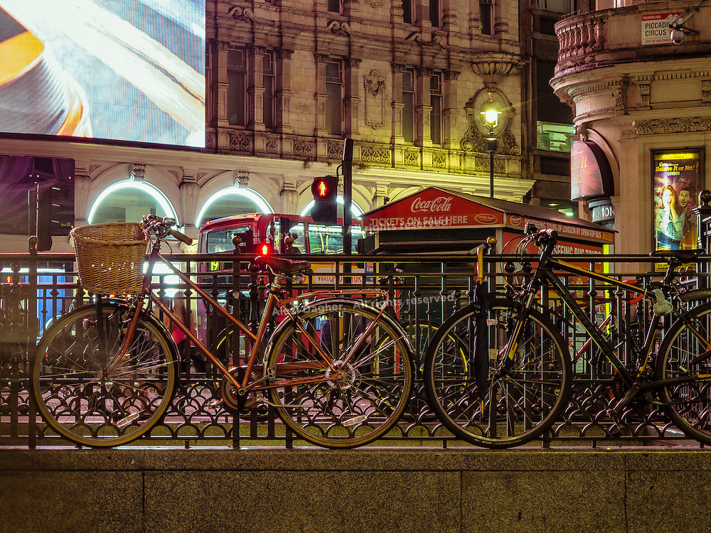 Bicycles Locked At Piccadilly Circus Over Night - London, England, 2016