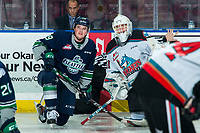 KELOWNA, BC - JANUARY 24: Jared Davidson #29 of the Seattle Thunderbirds stretches at centre with former teammate Cole Schwebius #31 of the Kelowna Rockets at Prospera Place on January 24, 2020 in Kelowna, Canada. (Photo by Marissa Baecker/Shoot the Breeze)