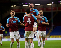 BURNLEY, ENGLAND - Thursday, August 16, 2018: Burnley's Jack Cork (#4) celebrates scoring the first goal in extra time during the UEFA Europa League Third Qualifying Round 2nd Leg match between Burnley FC and İstanbul Başakşehir at Turf Moor. (Pic by David Rawcliffe/Propaganda)c