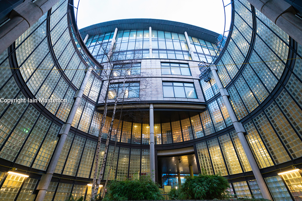 Exterior evening view of Scottish Widows office building in financial district in Edinburgh West End, Scotland, United Kingdom