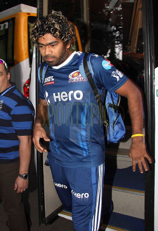 Lasith Malinga of the Mumbai Indians arrives at the ground during The IPL 2012, Season 5, eliminator match between The Mumbai Indians and The Chennai Superkings held at the M. Chinnaswamy Stadium, Bengaluru on the 23rd May 2012..Photo by Shaun Roy/IPL/SPORTZPICS
