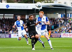 Rory Gaffney of Bristol Rovers is challenged by Ricardinho of Oxford United - Rogan/JMP - 14/10/2017 - FOOTBALL - Memorial Stadium - Bristol, England - Bristol Rovers v Oxford United - EFL Sky Bet League One.