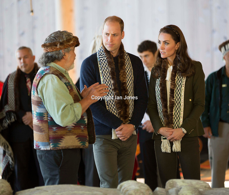 HAIDA GWAII- BC- CANADA- 30th Sept-2016 Prince William, the Duke of Cambridge and Princess Catherine, the Duchess of Cambridge visit the remote community of Haida Gwaii in northern British Colombia on the penultimate day of their visit to Canada.<br /> William and Kate arrived at Skdegate by Canoe and went on the see the Haida Herritage Centre and Hospital before finishing the day with a fishing trip.<br /> Photograph by Ian Jones