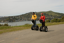Couple on Segways, each on a Segway, on Angel Island State Park in San Francisco Bay, California, CA. Model released..Photo camari203-70411..Photo copyright Lee Foster, www.fostertravel.com, 510-549-2202, lee@fostertravel.com.