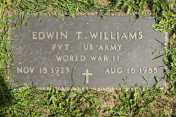31 August 2017:   Veterans graves in Park Hill Cemetery in eastern McLean County.<br /> <br /> Edwin T Williams  Private US Army  World War II  Nov 18 1923  Aug 16 1985