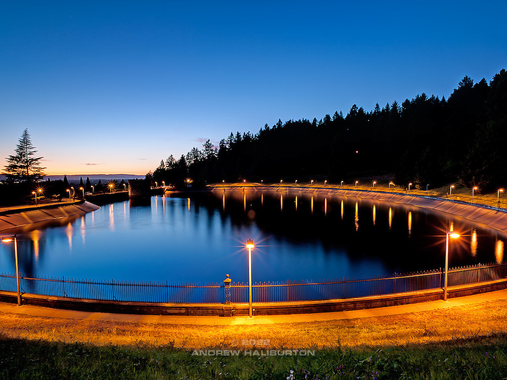 Reservoir 5 at dusk, Mount Tabor Park, Portland, Oregon.