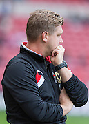 Karl Robinson (Manager) showing the strain during the Sky Bet Championship match between Middlesbrough and Milton Keynes Dons at the Riverside Stadium, Middlesbrough, England on 12 September 2015. Photo by George Ledger.