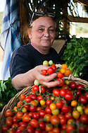 Costa Rei, Sardinia, Italy, June 2015. A Woman sells tomatoes in a fruit stand along the road. Costa Rei is located on the south coast of Sardinia about 50km from Cagliari. The coastline is renowned for its crystal clear water, golden sands and long beaches. Photo by Frits Meyst / MeystPhoto.com