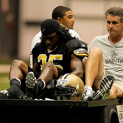 12 August 2009: New Orleans Saints  rookie cornerback Reggie Jones (35) is carted off the field during New Orleans Saints training camp at the team's indoor practice facility in Metairie, Louisiana.