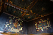 "In the Royal Palace of Edinburgh Castle, the King's Birth Chamber is where the first king of Scotland, England, and Ireland was born, James VI. In 1617 the room was painted to commemorate his birth. James VI and I (James Charles Stuart 1566–1625) was King of Scotland as James VI from 24 July 1567 and King of England and Ireland as James I from the union of the Scottish and English crowns on 24 March 1603 until his death in 1625. The kingdoms of Scotland and England were individual sovereign states, with their own parliaments, judiciary, and laws, though both were ruled by James in personal union. James was the son of Mary, Queen of Scots, and a great-great-grandson of Henry VII, King of England and Lord of Ireland, positioning him to eventually accede to all three thrones. James succeeded to the Scottish throne at the age of thirteen months, after his mother Mary was compelled to abdicate in his favor. In Celtic mythology the unicorn symbolized purity, innocence, masculinity and power. The proud, haughty unicorn was chosen as Scotland's national animal because it would rather die than be captured, just as Scots would fight to remain sovereign and unconquered. The unicorn was first used on the Scottish royal coat of arms by William I in the 1100s. Two unicorns supported the shield until 1603, when James VI replaced one unicorn with the national animal of England, the lion, to demonstrate unity. Scotland's unicorn in the coat of arms is always bounded by a golden chain, symbolizing the power of the Scottish kings, strong enough to tame a unicorn. The Scottish motto ""Nemo me impune lacessit,"" means ""No one wounds (touches) me with impunity."" Edinburgh is the capital city of Scotland, in the United Kingdom, Europe."
