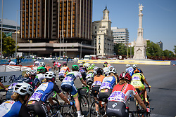 Peloton take a 180 degree turn at the top of the circuit at Madrid Challenge by La Vuelta an 87km road race in Madrid, Spain on 11th September 2016.