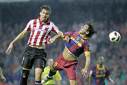 25.09.2010, San Mames, Bilbao, ESP, Primera Division, Athletic Bilbao vs FC Barcelona, im Bild Atletic de Bilbao's Fernando LLorente (l) and FC Barcelona's Carles Puyol during La Liga match. EXPA Pictures © 2010, PhotoCredit: EXPA/ Alterphotos/ Acero +++++ ATTENTION - OUT OF SPAIN / ESP +++++