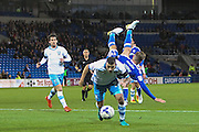 Daniel Pudil of Sheffield Wednesday upends Craig Noone of Cardiff City during the EFL Sky Bet Championship match between Cardiff City and Sheffield Wednesday at the Cardiff City Stadium, Cardiff, Wales on 19 October 2016. Photo by Andrew Lewis.