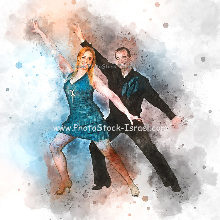 Digitally enhanced image of a Couple of ballroom dancers