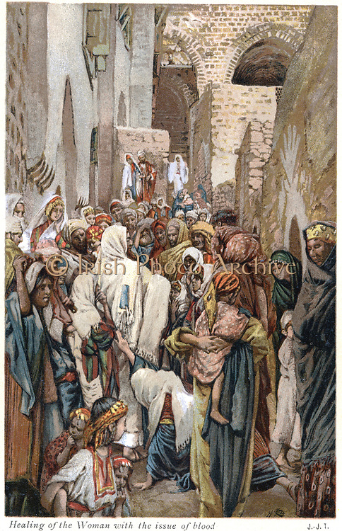 Woman with issue of blood touching the border of Jesus' garment and being  healed of her affliction. Jesus said to her 'Daughter, they faith hath made thee whole'. From J.J. Tissot 'The Life of our Saviour Jesus Christ' c1890. Oleograph.