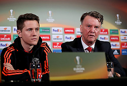 MANCHESTER, ENGLAND - Wednesday, March 16, 2016: Manchester United's Ander Herrera and manager Louis van Gaal during a press conference at Old Trafford ahead of the UEFA Europa League Round of 16 2nd Leg match against Liverpool. (Pic by David Rawcliffe/Propaganda)