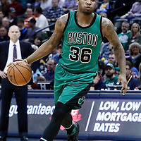10 March 2017: Boston Celtics guard Marcus Smart (36) drives during the Denver Nuggets 119-99 victory over the Boston Celtics, at the Pepsi Center, Denver, Colorado, USA.