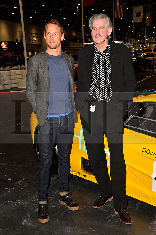 © Licensed to London News Pictures. 18/02/2016.  JENSEN BUTTON and GORDON MURRAY pose with a MACLAREN F1 car at the launch of the London Classic Car Show.  The four day event brings together classic car owner, dealers, collectors, experts and enthusiasts. London, UK. Photo credit: Ray Tang/LNP