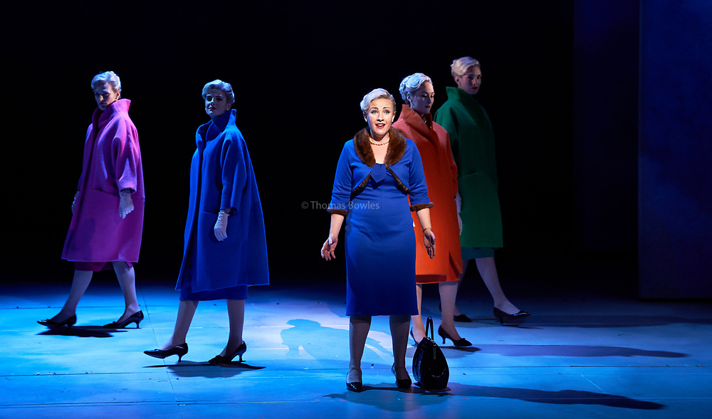 EMBARGOED UNTIL 18th NOVEMBER AT 7:30PM. English National Opera presents Nico Muhly&rsquo;s &ldquo;Marnie&rdquo; at the London Coliseum.<br /> <br /> Sasha Cooke (Marnie), Daniel Okulitch (Mark Rutland), James Laing (Terry Rutland), Lesley Garrett (Mrs Rutland), Kathleen Wilkinson (Marnie&rsquo;s mother), Diana Montague (Lucy, Marnie&rsquo;s mother&rsquo;s neighbour), Alasdair Elliott (Mr Strutt), Eleanor Dennis (Laura Fleet), Matthew Durkan (Malcolm Fleet), Darren Jeffery (Dr Roman), Alexa Mason(Dawn, secretary at Halcyon Printing), Charlotte Beament (shadow Marnie), Katie Coventry (shadow Marnie), Emma Kerr (shadow Marnie), Katie Stevenson (shadow Marnie), Leo Sellis (little boy), David Newman (Derek), Susanna Tudor-Thomas (Miss Fedder, office supervisor), Ella Kirkpatrick (Marnie&rsquo;s mother, 1940).