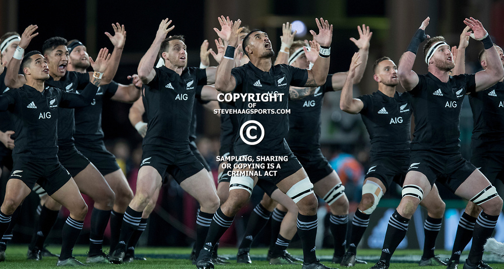Haka by All Blacks during game 7 of the British and Irish Lions 2017 Tour of New Zealand, the first Test match between  The All Blacks and British and Irish Lions, Eden Park, Auckland, Saturday 24th June 2017<br /> (Photo by Kevin Booth Steve Haag Sports)<br /> <br /> Images for social media must have consent from Steve Haag
