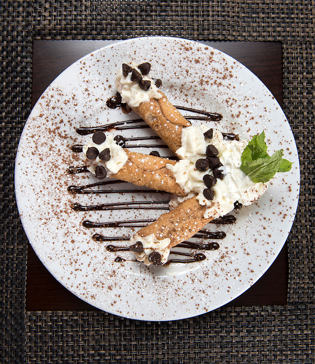 Photo by Mara Lavitt<br /> August 25, 2016<br /> Frank's Gourmet Grille, Mystic (Stonington), CT<br /> Cannoli.