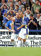 Cardiff - Saturday August 23rd, 2008: Ross McCormack of Cardiff City is congratulated by teammate Riccardo Scimeca after scoring the second goal during the Coca Cola Championship match at The Ninian Park, Cardiff. (Pic by Paul Hollands/Focus Images)