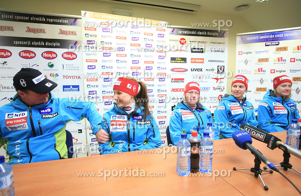 Bozo Jaklin, Mateja Robnik, Marusa Ferk, Vanja Brodnik and Ana Drev at press conference of Women Slovenian alpine team before the World Championship in Val d'Isere, France, on January 26, 2009, in Ljubljana, Slovenia. (Photo by Vid Ponikvar / Sportida).
