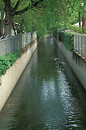 Flood control canal for stream and rainfall runoff in residential area, Pleasant Hill, California