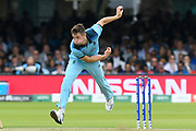 Chris Woakes of England bowling during the ICC Cricket World Cup 2019 Final match between New Zealand and England at Lord's Cricket Ground, St John's Wood, United Kingdom on 14 July 2019.