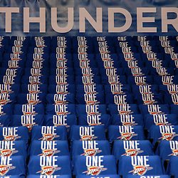 Jun 12, 2012; Oklahoma City, OK, USA;  Oklahoma City Thunder t-shirts line the seat prior to acing the Miami Heat in game one in the 2012 NBA Finals at the Chesapeake Energy Arena.  Mandatory Credit: Derick E. Hingle-US PRESSWIRE