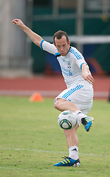 SINGAPORE, SINGAPORE - Sunday, July 17, 2011: Liverpool's new signing Charlie Adam during an exhibition training session at the Bishan Stadium in Singapore on day seven of the club's preseason Asia Tour. (Photo by David Rawcliffe/Propaganda)