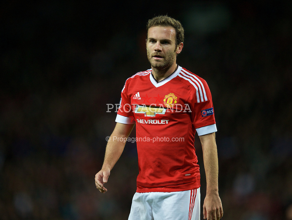 MANCHESTER, ENGLAND - Wednesday, September 30, 2015: Manchester United's Juan Mata looks dejected after missing a chance against VfL Wolfsburg during the UEFA Champions League Group B match at Old Trafford. (Pic by David Rawcliffe/Propaganda)