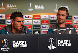 BASEL, SWITZERLAND - Tuesday, May 17, 2016: Liverpool's James Milner and captain Jordan Henderson during a press conference ahead of the UEFA Europa League Final against Sevilla FC at St. Jakob-Park. (Pic by UEFA/Pool/Propaganda)