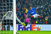 Alfredo Morelos (#20) of Rangers FC shoots for goal during the Europa League Group G match between Rangers FC and BSC Young Boys at Ibrox Park, Glasgow, Scotland on 12 December 2019.
