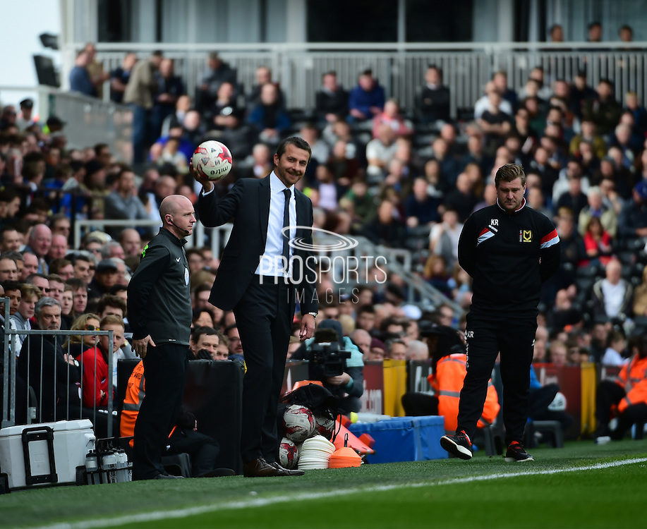 Fulham Manager Slavisa Jokanovic during the Sky Bet Championship match between Fulham and Milton Keynes Dons at Craven Cottage, London, England on 2 April 2016. Photo by Jon Bromley.