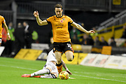 Wolverhampton Wanderers midfielder Diogo Jota (18) on the attack 0-0 during the EFL Sky Bet Championship match between Wolverhampton Wanderers and Fulham at Molineux, Wolverhampton, England on 3 November 2017. Photo by Alan Franklin.