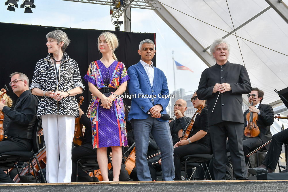 Kathryn McDowell,Sadiq Khan,Sir Simon Rattle at the BMW Classics + live streamed on YouTube in Trafalgar Square on a hot weather in London, UK on July 1st 2018.