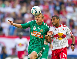 28.08.2011, Red Bull Arena, Salzburg, AUT, 1. FBL, RED BULL SALZBURG vs RAPID WIEN, im Bild Mario Sonnleitner (SK Rapid Wien, #6) und Alan  (Red Bull Salzburg, #27)  // during the Austrian Bundesliga Match, RED BULL SALZBURG against RAPID VIENNA, Red Bull Arena, Salzburg, 2011-08-28, EXPA Pictures © 2011, PhotoCredit: EXPA/ J. Feichter