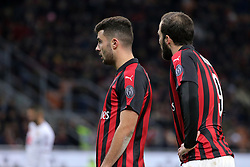 December 9, 2018 - Milan, Milan, Italy - Gonzalo Higuain #9 of AC Milan and Patrick Cutrone #63 of AC Milan during the serie A match between AC Milan and Torino FC at Stadio Giuseppe Meazza on December 09, 2018 in Milan, Italy. (Credit Image: © Giuseppe Cottini/NurPhoto via ZUMA Press)