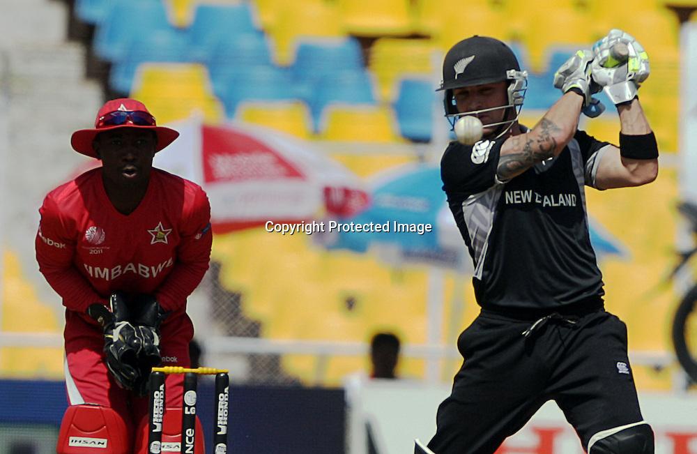 Brendon McCullum bats. ICC Cricket World Cup 2011. New Zealand Black Caps v Zimbabwe. Sardar Patel Stadium. March 4, 2011. Ahmedabad, India. Photo: photosport.co.nz
