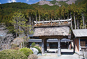 Photo shows the old gate outside the Takekawa house at the foot of Mt. Kenashiyama bordering the Asagiri Plateau in Fujinomiya, Shizuoka Prefecture Japan on 22 March 2013.  The gate is believed to date back 500 years and was used as an entrance way to Fuji Gold Mine. Photographer: Robert Gilhooly