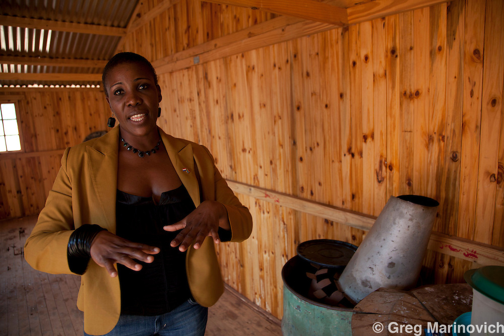 Phakama Trust, Nkomati district, Mpumalanga province, South Africa April 13, 2011: Sylvia Machimana, project manager, marketing & communications officer at the Inkomati project of the Inkomati Catchment Management Agency at the Sincobile Secondary School. The combination of urine diversion toilet system and Permaculture garden at Sincobile High School stands out to be the greatest achievement of the Inkomati project. The intention of this pilot project is that the local municipality and the Mpumalanga Provincial Government (and other responsible parties) will be able to duplicate the project in other schools and the community. Photo Greg Marinovich.