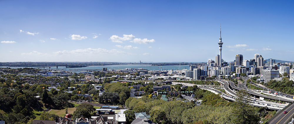 city scape panoramic view of auckland city, harbour and sky tower, auckland, new zealand