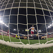 Real Salt Lake goalkeeper Jeff Attinella lies dejected in the goalmouth after Dax McCarty, New York Red Bulls, scored his sides dramatic injury time winner during the 4-3 Red Bulls win in the New York Red Bulls V Real Salt Lake, Major League Soccer regular season match at Red Bull Arena, Harrison, New Jersey. USA. 27th July 2013. Photo Tim Clayton