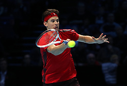 Dominic Thiem in action during his singles match against Grigor Dimitrov during day two of the NITTO ATP World Tour Finals at the O2 Arena, London.