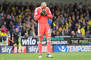 Fulham goalkeeper David Button (27) reacts after failing to save a penalty by Burton Albion during the EFL Sky Bet Championship match between Burton Albion and Fulham at the Pirelli Stadium, Burton upon Trent, England on 16 September 2017. Photo by Richard Holmes.