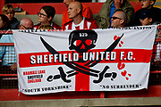 A fan banner of Sheffield United during the Premier League match between Sheffield United and Crystal Palace at Bramall Lane, Sheffield, England on 18 August 2019.